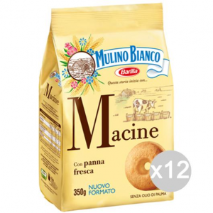 Set 12 MULINO BIANCO Biscotti Macine Gr 350 Per Colazione E Merenda