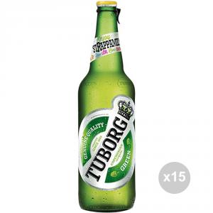 Set 15 TUBORG Birra in bottiglia 66cl bevanda alcolica da tavola