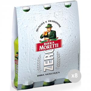 Set 8 MORETTI Birra in bottiglia 33x3 zero vetro bevanda alcolica da tavola