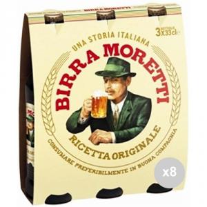 Set 8 MORETTI Birra in bottiglia 33x3 vetro bevanda alcolica da tavola