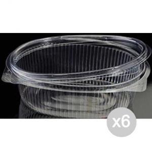 Set 6 Vaschetta Plastica +Coperchio Ml 375 Ops Ovale X 100 Cibi E Cucina