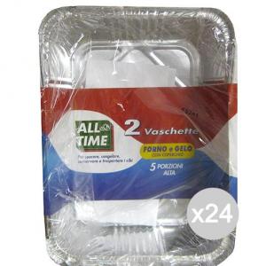 Set 24 Vaschetta Alluminio 163 +Coperchio 5 Porzioni X Alta All Time Cibi E Cucina