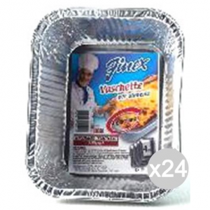 Set 24 FINEX Vaschetta Alluminio 128 +Coperchio 1 Porzioni X4 Cibi E Cucina