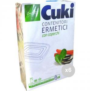Set 6 CUKI Contenitori ermetici rettangolo x4 lt . 750 contenitore per alimenti