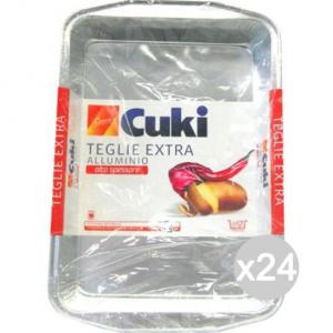 Set 24 CUKI Teglie Alluminio 16X25X6 S249 4/6 Porzioni Per La Cibi E Cucina