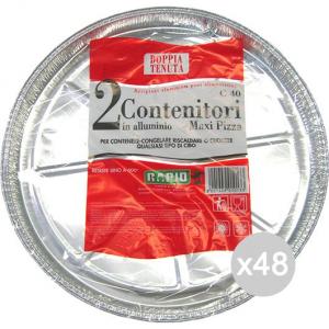 Set 48 ROTOFRESH Vaschetta Alluminio C 8 Tonda Pizza Cm 32 Preparazione Cibi E Cucina