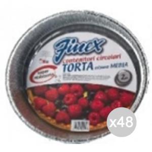 Set 48 FINEX Vaschetta Alluminio 503 Tonda Torta Cm 23X3 Per La Cibi E Cucina