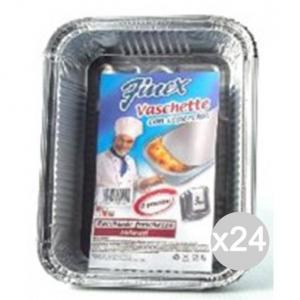 Set 24 FINEX Vaschetta Alluminio 209 +Coperchio 2 Porzioni X3 Cibi E Cucina