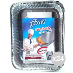 Set 24 FINEX Vaschetta Alluminio 131 +Coperchio 8 Porzioni X2 Cibi E Cucina