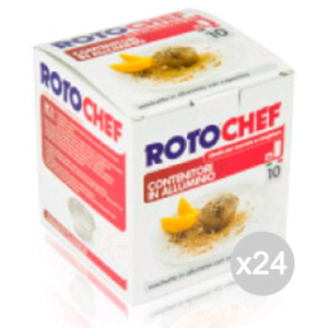 Set 24 ROTOFRESH Vaschetta Alluminio Senza C.Budino 10 Crem-C Cibi E Cucina