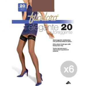 Set 6 FILODORO Elegante 20 Glace Tg 4L Autoreggente Calze Collant Da Donna