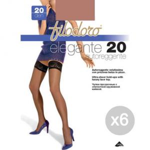 Set 6 FILODORO Elegante 20 Playa Tg 3M Autoreggente Calze Collant Da Donna