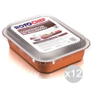 Set 12 ROTOFRESH Vaschetta Microonde 6P Alluminio +Coperchio Plastica Cibi E Cucina