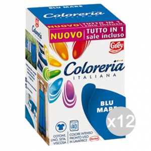 Set 12 COLORERIA ITALIANA Blu Mare +Sale Tutto In1New Detersivo Lavatrice E Bucato