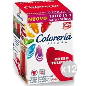 Set 12 COLORERIA ITALIANA Rosso Tul.+Sale Tutto In1New Detersivo Lavatrice E Bucato