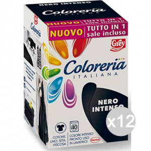 Set 12 COLORERIA ITALIANA Nero Int. +Sale Tutto In1New Detersivo Lavatrice E Bucato
