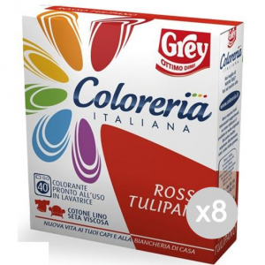 Set 8 COLORERIA ITALIANA Rosso Tulipano Detersivo Lavatrice E Bucato