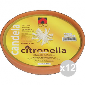 Set 12 CITRONELLA U 128A Terracotta Fiaccola 18X5H Repellente Insetticida