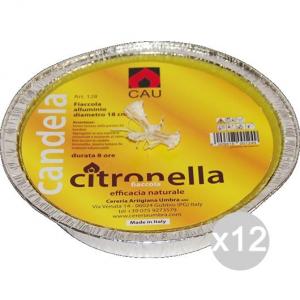 Set 12 CITRONELLA U 128 Alluminio Fiaccola 18X5H Repellente Insetticida