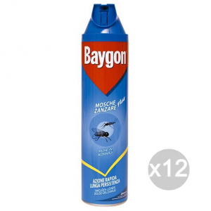 Set 12 BAYGON Blu'Spray Mosche-Zanzare Ml 400 Repellente Insetticida