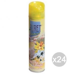 Set 24 AURET Deodorante Spray Magnolia Vaniglia 300Ml Profumazione Della Casa