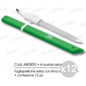 Set 12 IPAM Aa0850 Taglia Pellicine Extra+Lima 14Cm Manicure E Pedicure