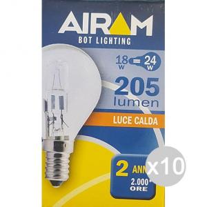Set 10 AIRAM Lampada Alogena Sfera Chiara 18W E14 230V Illuminazione Della Casa