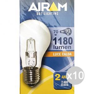 Set 10 AIRAM Lampada Alogena Goccia Chiara 70W E27 230V Illuminazione Della Casa