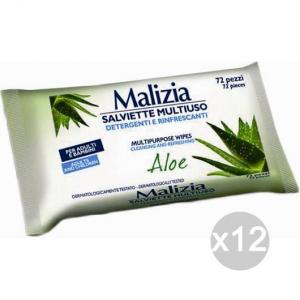 Set 12 MALIZIA Salviette Multiuso X72 Aloe Busta Igiene E Cura Del Bambino