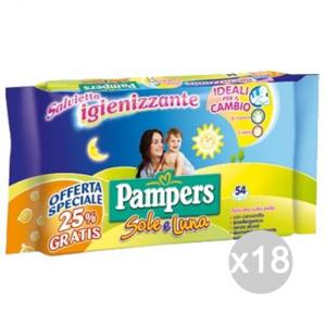 Set 18 PAMPERS Salviette Sole Luna X54/50 Busta Igiene E Cura Del Bambino