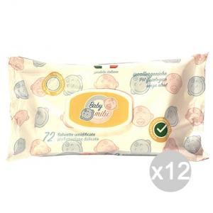 Set 12 BABY MILU' Salviette Aloe Bimbi X72 Con Coperchioc Igiene E Cura Del Bambino