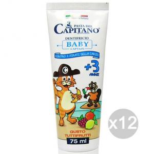 Set 12 CAPITANO Dentifricio Bimbi +3 Anni Tutti Frutti Igiene E Cura Dei Denti
