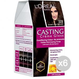 Set 6 CASTING Creme Gloss 323 Nero Cioccolato Tinta E Colore Per Capelli