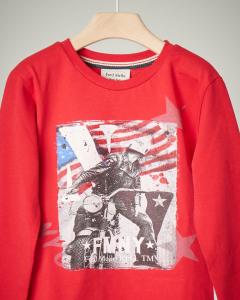 T-shirt rossa con stampa 2-7 anni