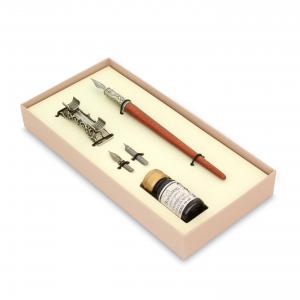 BORTOLETTI Set Di Scrittura Con Penna In Legno E Portapenna In Bronzo Linea Exempla