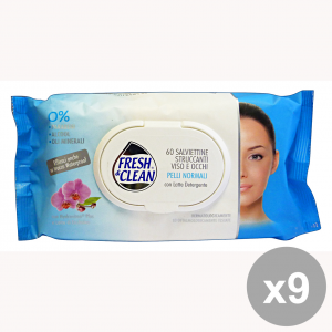 Set 9 FRESH&CLEAN Salviette StruccAnti Pelli NormalI X 60 Pezzi Saponi e cosmetici
