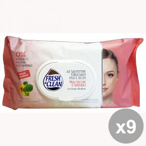 Set 9 FRESH&CLEAN Salviette StruccAnti Pelli Sensibili X 60 Pezzi Saponi e cosmetici