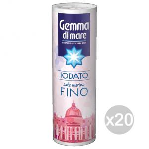Set 20 Sale Fino Con Spargitore Iodato 250 Gr Gemma Di Sale 103868 Condimenti E Spezie