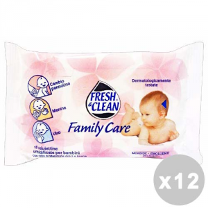 FRESH & CLEAN Set 12 FRESH & CLEAN Salviette baby * 18 pz. family care - linea bimbo