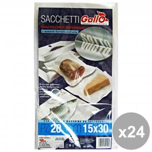 Set 24 GAllo Sacchi SOTTOVUOTO 15x30 * 20 Pezzi Contenitori per la cucina