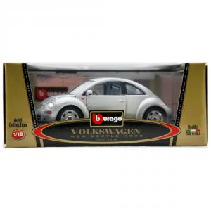 BBURAGO Modellini Auto Scala 1:18 Vw New-Beetle Grigio (1998) Giocattolo Bambino