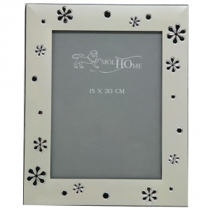 ARKE' Portafoto Silver Satinato Con Fiori Cm.15X20 Articoli Regalo