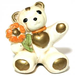 CONSON LUCIA Orso Con Fiore Ceramica Cm.8X8,5 Articoli Regalo Oggettistica