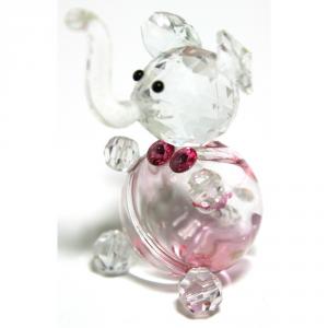 C.T.F. Elefante Cristallo/Vetro Rosa Cm.6X4 Articoli Regalo Oggettistica