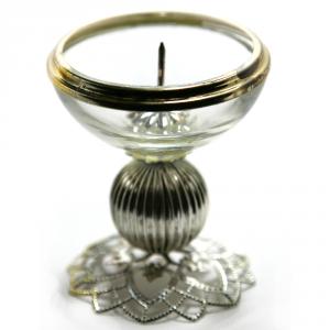CARRATURO DOMENICO Porta candela Vetro/Silver Anticato Cm.8X7 Articoli Regalo Oggettistica