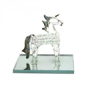 COSENTINO GIUSEPPE Cavallo Vetro Con Base Specchio Cm.8X7 Articoli Regalo Oggettistica