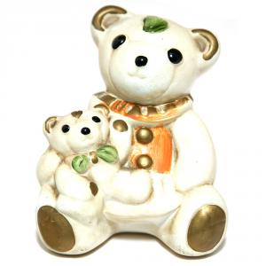 CONSON LUCIA Orso Con Piccolo Ceramica Cm.10X9 Articoli Regalo Oggettistica