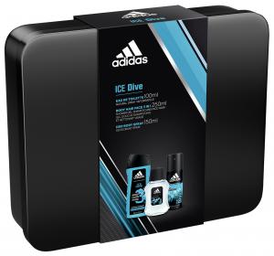 ADIDAS Regalo Metallic Box Acqua Profumata+Deodorante+Doccia+Box Latta Ice Dive