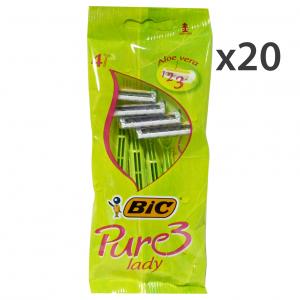 Set 20 BIC LADY PURE 3 3LAME R&G X 4 Pezzi Prodotti per rasatura