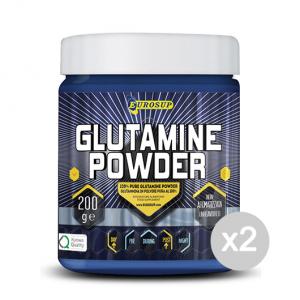 Set 2 EUROSUP Glutamine Powder Formato: 200 g Integratori sportivi, benessere fisico
